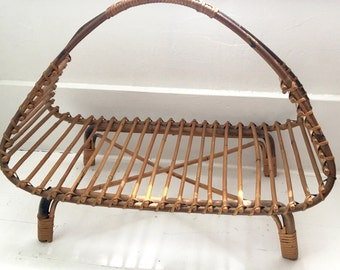 Vintage Rattan Magazine Rack Mid Century In the Style of Franco Albini SALE