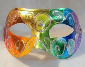 Rainbow Hologram Spiral Hand Painted Mask