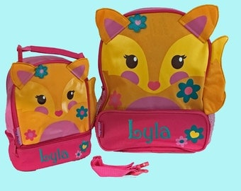Personalized Stephen Joseph FOX Themed Sidekick Backpack and Lunch Pal Lunchbox