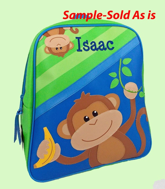 SAMPLE Personalized Stephen Joseph GoGo Backpack BOY MONKEY Themed Backpack-Reduced Price-Sold As Is with the name Isaac already on it