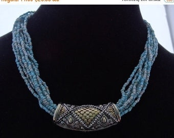 "20% off sale Vintage  17"" silver tone and blue glass seed bead necklace in great condition, appears unworn"