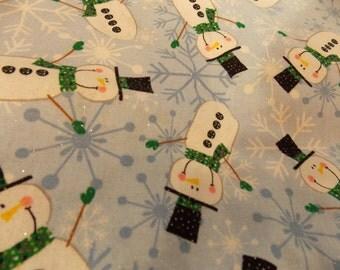 Sparkle Snowman Fabric-Snowflake Snowman Sparkle Fabric-Blue Snowman Fabric- Cotton Snowman Fabric