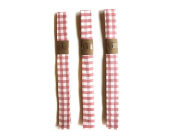 Skinny Ties for 8-10 year old boys Pink Gingham