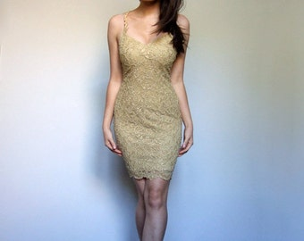 Gold Lace Mini Dress 90s Bodycon Party Dress Spaghetti Strap Metallic Fitted Dress - Extra Small XXS XS