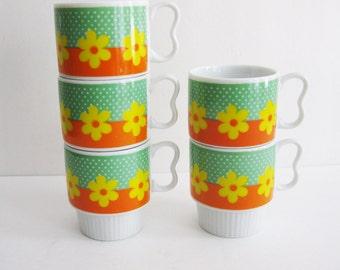 Vintage Floral Stacking Mugs, Nevco Japan