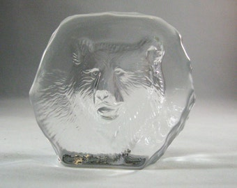Vintage Etched Bear Paperweight, Art Glass Scuplture