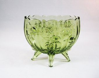 Fenton Glass Rose Pattern Oval Vase in Colonial Green