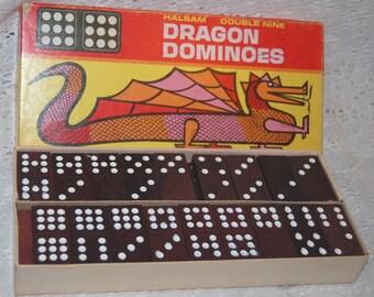 Halsam Double Dragon 55 black wood dominoes in original box