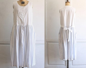 vintage 80s cotton sun dress striped blue and white