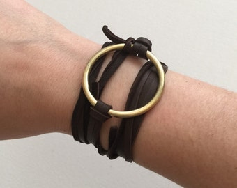 Valentina Chocolate Brown Leather & Gold Wrap Bracelet