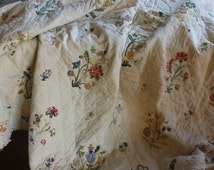 Delightful 18th c French Crewel Embroidered Matelassé Quilt