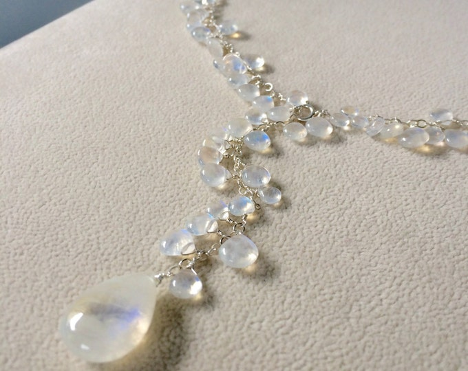 Something Blue Bridal Lariat Necklace in Sterling Silver and Rainbow Moonstone