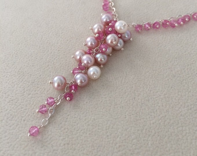 Freshwater Pearl Pendant Necklace in Sterling Silver with Mystic Pink Topaz