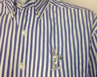 VTG Bugs Bunny Looney Tunes Striped Oxford Button Shirt XS Womens