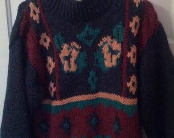 FLASH SALE sweater knit pattern acrylic wool small boho grunge jumper hippie SML Sport