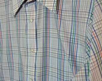 FLASH SALE Geno by Gene Ostro dress shirt suit striped large 16 16.5 made in Canada boho