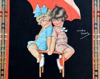 Girl Love:  Vintage Postcard Adorable Pair Beneath a Parasol