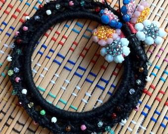 Beaded Butterfly Bangle Bracelet