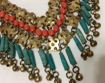 Egyptian Motif Beaded Bib Necklace