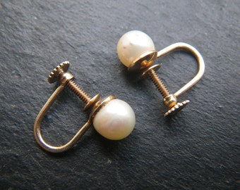 Pearl and solid 14kt gold wedding earrings - 6.5 mm