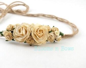 Cream Flower Crown, CreamTieback Headband, Cream Flower Headband, Baby Flower Headband, Cream Flower Headband, Cream Hair Accessory