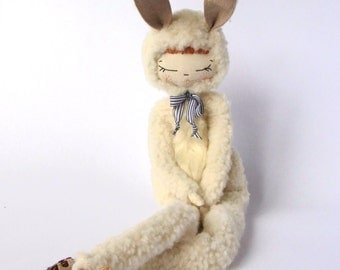 Textile cloth doll, art doll OOAK, tiny bunny in brogues