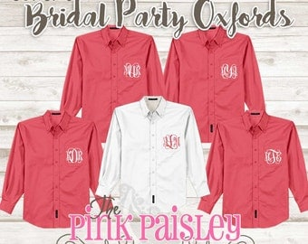 Monogram Bridesmaid Oxford Shirts | Set of 5 | Button Down Shirts | Getting Ready Shirts | Bridal party shirts | Wedding Day Shirts |