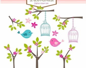 ON SALE - Birds Clipart, Flowers clipart, Digital Clipart, springbirdsntrees, invitations, card making