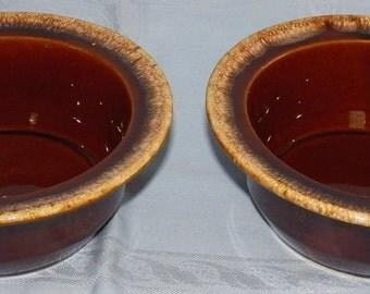 Vintage Hull Pottery Mirror Brown 1-Quart Round Open 2 Casseroles Brown Drip