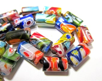 25 Glass Millefiori beads Venetian artisan beads abstract patterened glass beads 18mm x 10mm MF3B-SB3