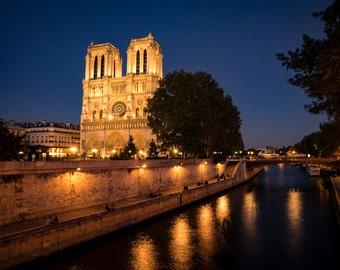 Paris Photography Notre Dame Photo France Print Paris Decor Night Twilight Blue Amber Yellow Seine River par158