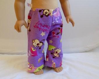 Doll Pajama Pants, 18 Inch Doll Clothes, Girl Doll Pajamas, Sleepwear