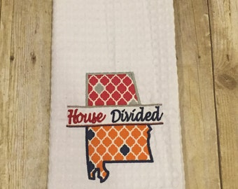 House Divided Alabama and Auburn White Kitchen Waffle Weave Towel