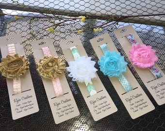 Shabby Chic Elastic Headband with Flower - Design your own