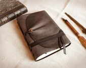 grey leather journal, vintage style diary, leather notebook, custom personalized quote - Between the lines