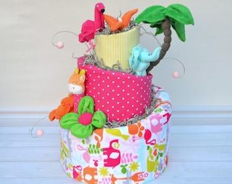 Baby Girl Diaper Cake, Safari Diaper Cake, Safari Brights Bedding, Baby Shower Decoration, Baby Girl Gift, Giraffe, Elephant, Flamingo