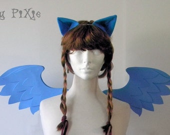 Rainbow Dash Set (Pony Wings, Ears) My Little Pony Halloween Costume, Kids and Adult Brony Cons Cosplay Accessories