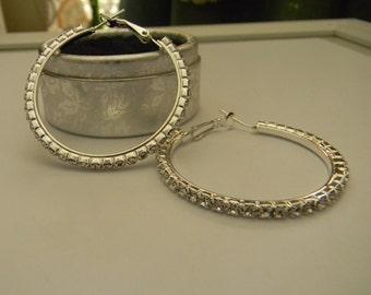 White Gold Filled Large Round Hoop Earrings Handmade:Cubic Zirconia Hoop Earrings For Her CZ Crystal Hoop Earrings-Mothers Day Jewelry Sale