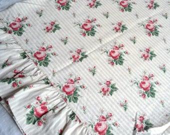 Ralph Lauren Pillowcase - Pink Roses on Tan Stripe - King Size Sophie Brooke
