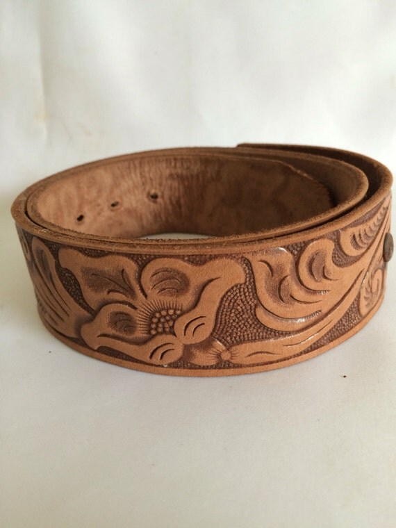 embossed leather western belt blank by contemporaryvintage