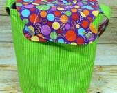 Yarn Stash Green Stripe -Medium Llayover Knitting Tote/Knitting, Spinning, Crochet Project Bag