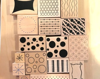SUPPLY DESTASH - Mixed Background/Shapes Rubber Stamps