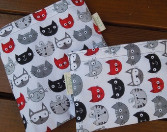 Reusable sandwich and/or snack bag - Cat faces reusable snack bag - Reuse sandwich bag - Fabric reusable bags set - Happy cats