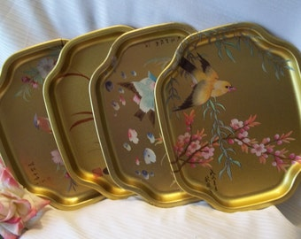 Gorgeous Set of Golden Elite Oriental Motif Metal Trays - Decor - Collectible - Vintage - Made in England
