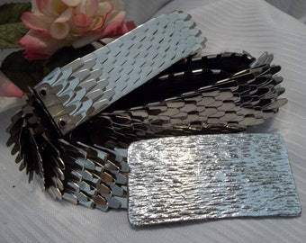 MINT Gorgeous Silver Tone Metal Fish Scale Belt Rectangle Textured Buckle - Womens - Accessory - Mad Men