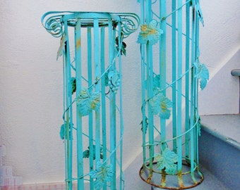Vintage Wrought Iron Turquoise Ornate Grapevine French Country Rustic Arts & Crafts Plant Stands Set Garden Art Home Decor Ornate Victorian