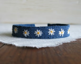 Daisy Cuff Bracelet - A Row of Daisy's Hand Embroidered on Blue Linen Cuff Bracelet