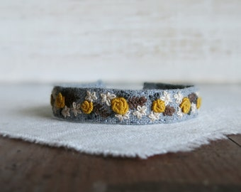 Mustard Roses Embroidered Cuff Bracelet - Mustard and Cream Flowers on Grey Linen Embroidered Cuff Bracelet