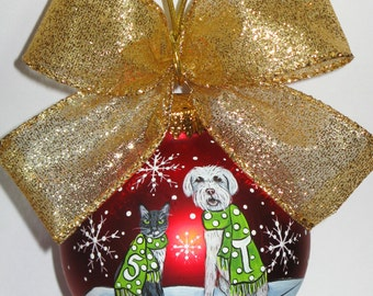 "Christmas Dog and Cat Ornament   - ""Let It Snow"" design"