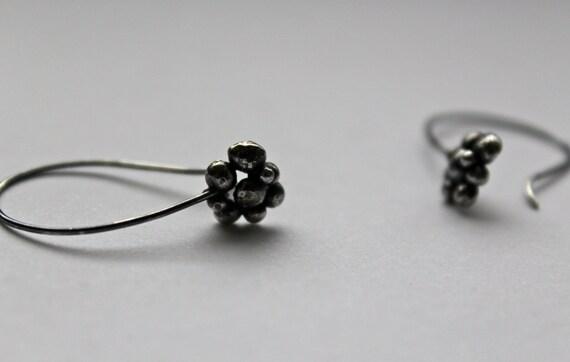 Blackened Silver Cluster Drop Earrings
